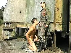 Teen military guys oral