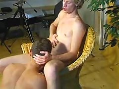 Blond twinks do slurp job in studio